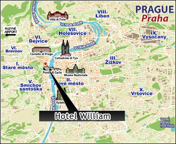 Hotels Prague, Map
